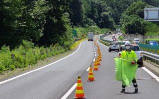 諏訪営業所 中央自動車道 対面通行規制(諏訪営業所)